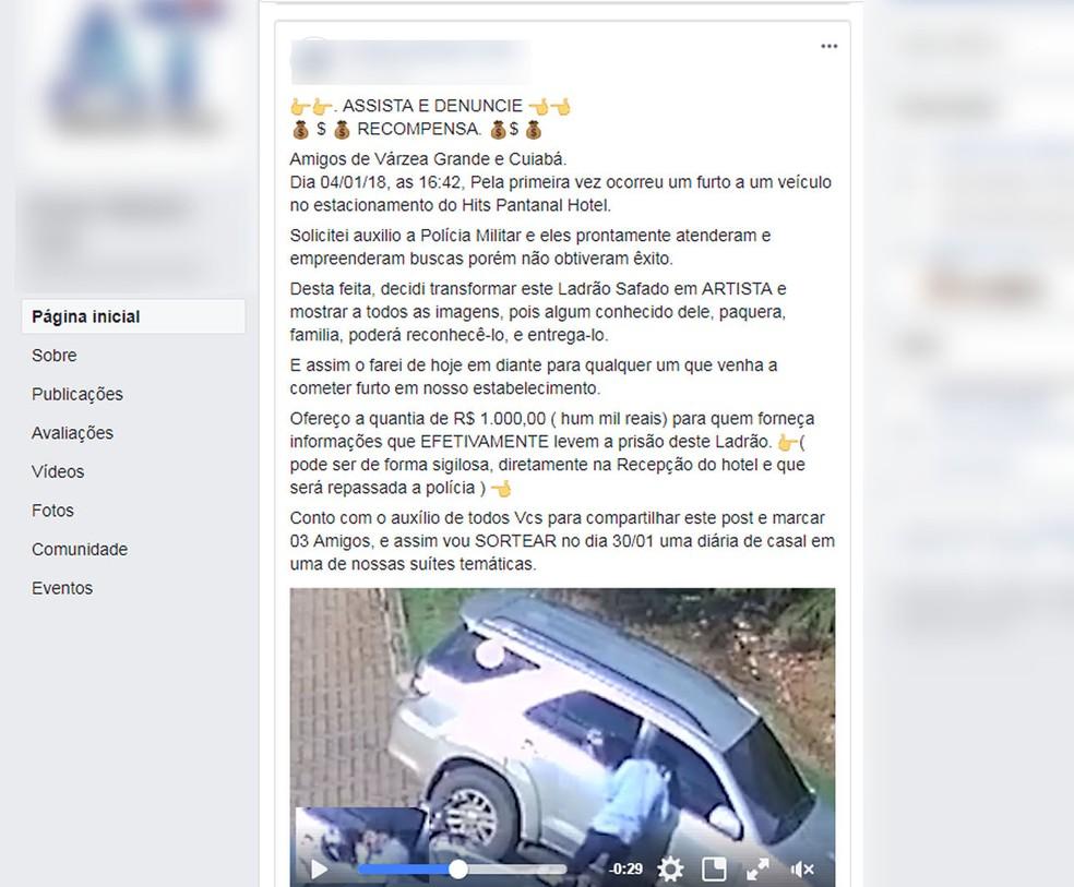No final da postagem, Tuim disse que oferece recompensa de R$ 1 mil para quem diga informações que levem à prisão do assaltante (Foto: Facebook/Reprodução)