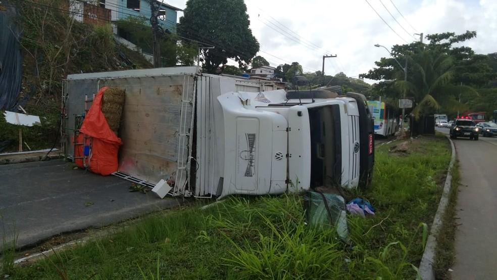 Caminhão que transportava cavalos tomba na BR-101, no Recife — Foto: PRF/Divulgação