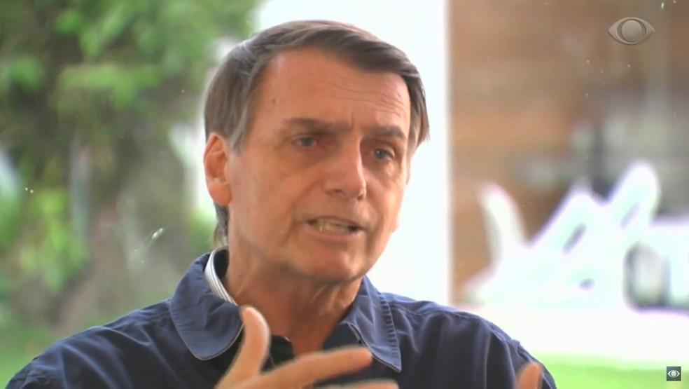 Candidato Jair Bolsonaro (PSL) dá entrevista à Band â?? Foto: Reprodução/Band