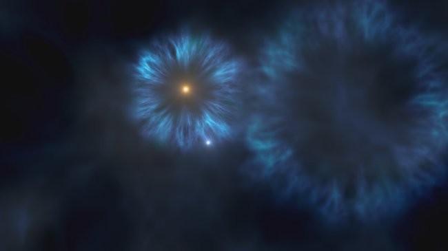 Ilustração da explosão das primeiras estrelas massivas a se formarem na Via Láctea, momento em que deve ter surgido o astro encontrado pelos cientistas espanhóis. (Foto: Gabriel Pérez, SMM (IAC))
