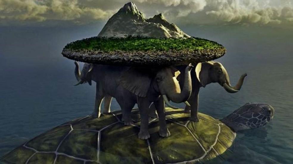 Nas mitologias chinesa, hindu e de povos indígenas americanos, o mundo era carregado por uma tartaruga - em alguns acasos por elefantes sobre o seu casco (Foto: Getty Images)