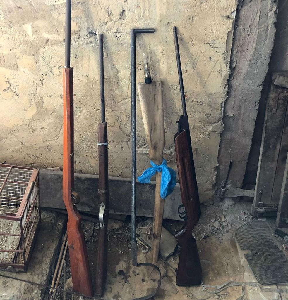 Duas espingardas tipo artesanal para caça com cartuchos também foram recolhidas. — Foto: Secretaria de Segurança Pública (SPP-BA)