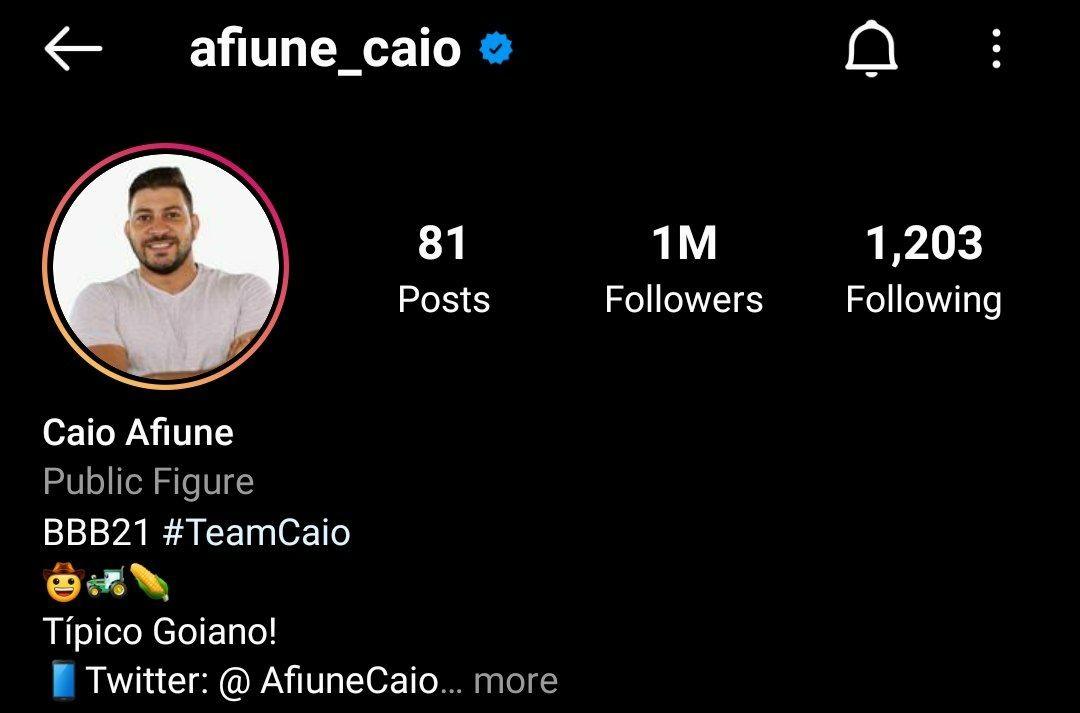 Caio atinge 1 milhão de seguidores (Foto: Reprodução/Instagram)