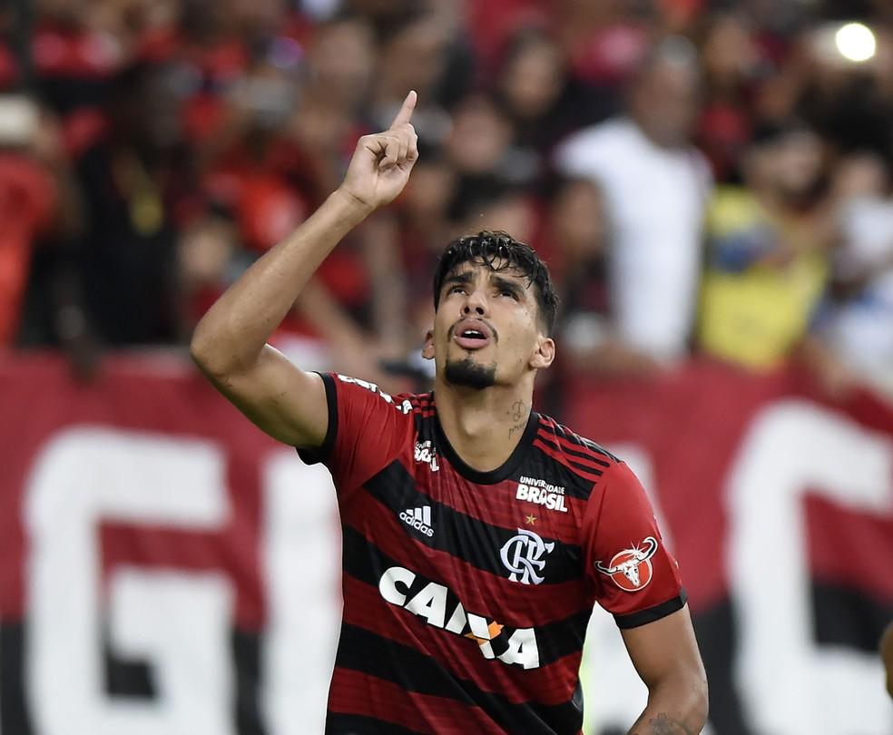 Lucas Paquetá festeja gol pelo Flamengo (Foto: André Durão)