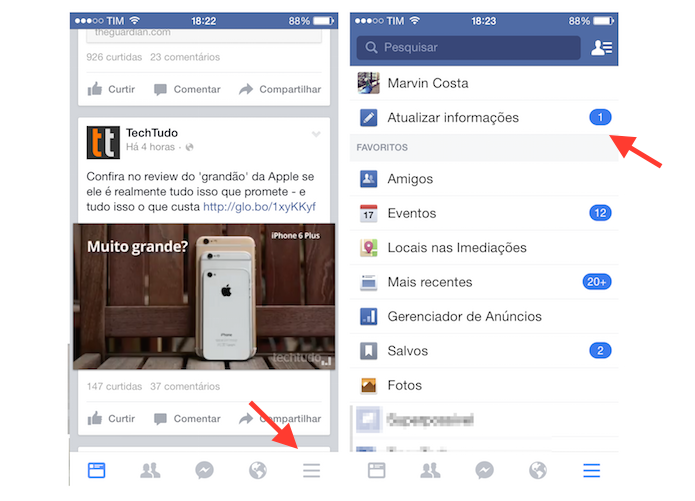Acessando a página de atualização de informações de perfil do Facebook no iPhone (Foto: Reprodução/Marvin Costa)
