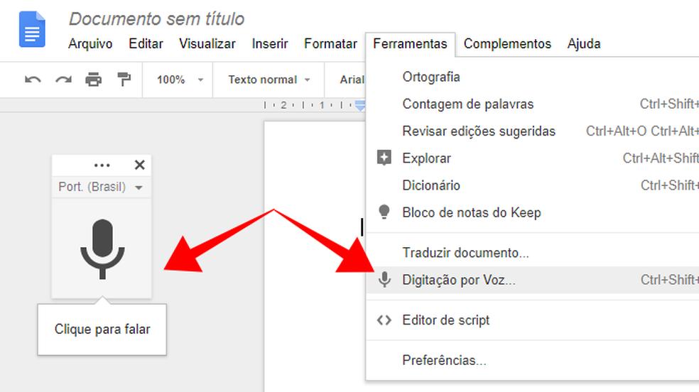Ative a função de ditado no Google Docs (Foto: Reprodução/Paulo Alves)