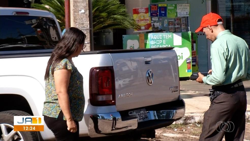 Estacionamento rotativo está funcionando em Palmas — Foto: Reprodução/TV Anhanguera
