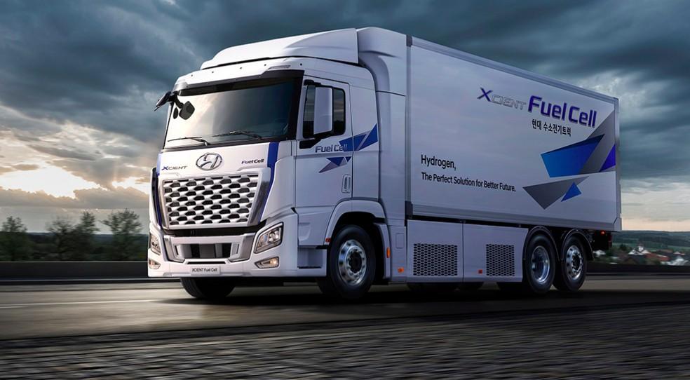 Caminhão Hyundai movido a hidrogênio — Foto: Reprodução/site/Hyundai
