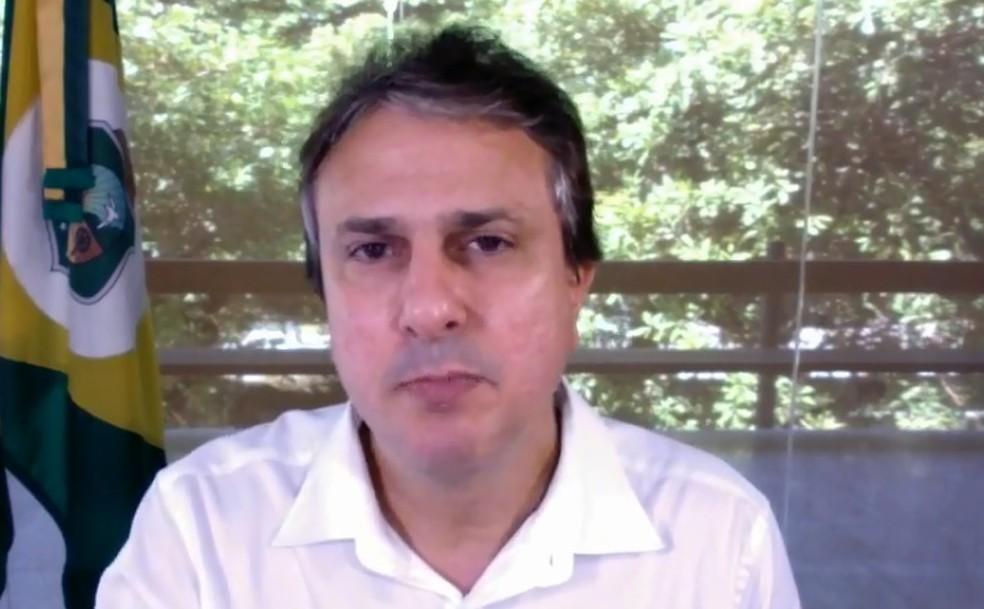 Camilo Santana, em transmissão por redes sociais (Foto: Reprodução)