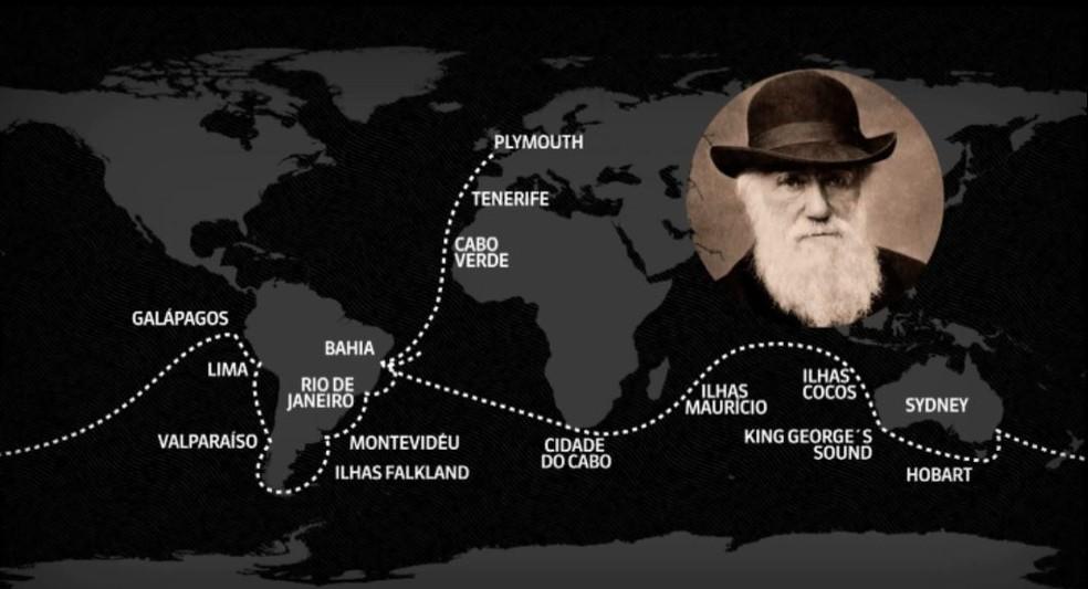A volta ao mundo de Charles Darwin durou 5 anos e incluiu uma passagem pelo Brasil — Foto: Wilson Aiello/EPTV