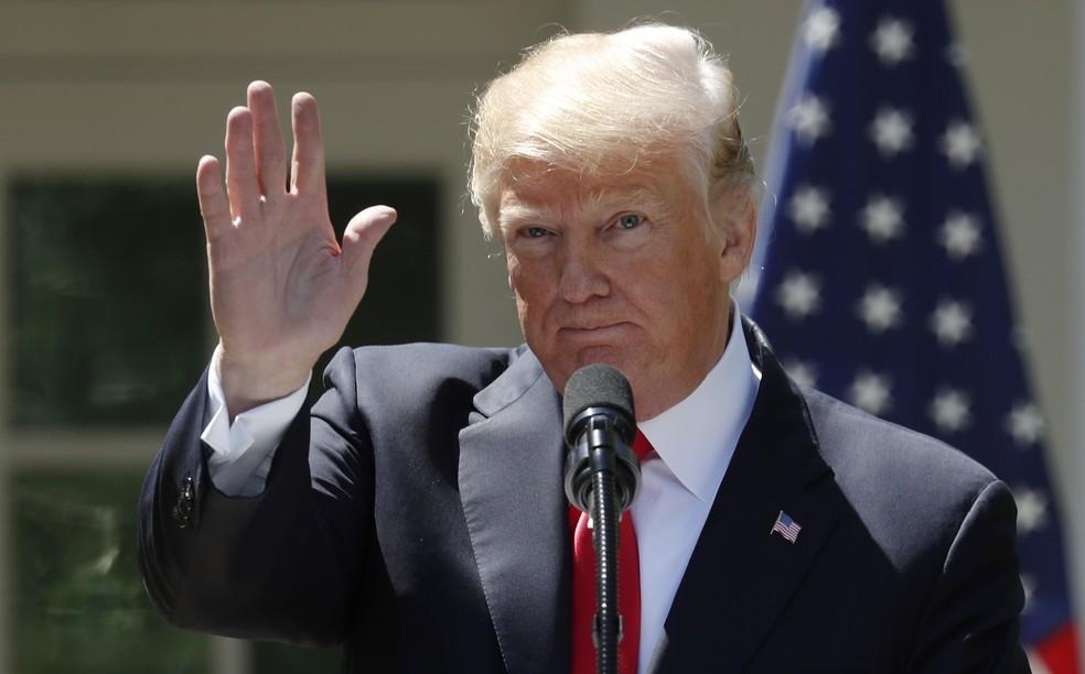 Presidente dos EUA, Donald Trump, fala em conferência na Nigéria (Foto: Kevin Lamarque/Reuters)