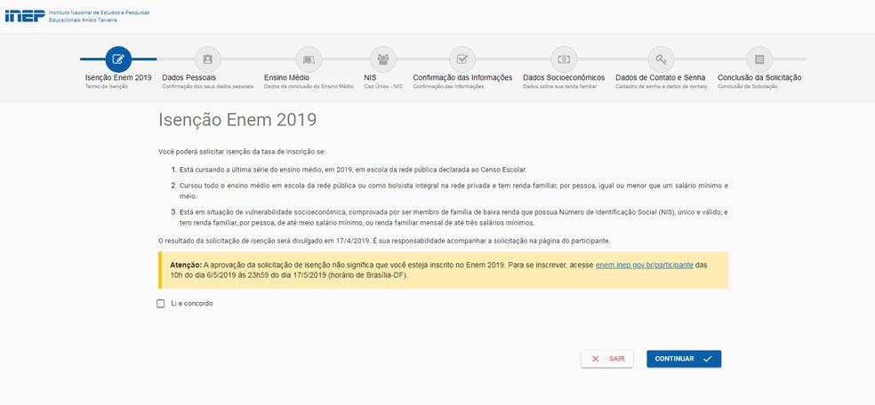 Página de isenção da taxa de inscrição do Enem 2019 — Foto: Inep/Reprodução
