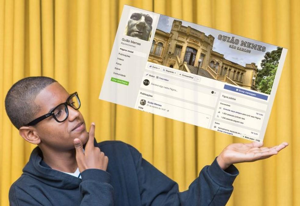 O aluno São Carlos Vitor Aguiar de Jesus ganhou prêmio com página de memes da sua escola. (Foto: Secretaria Estadual de Educação/Divulgação)