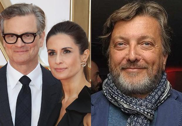 Colin Firth e Livia Giuggioli, e o jornalista Marco Brancaccia (Foto: Getty Images e Reprodução)