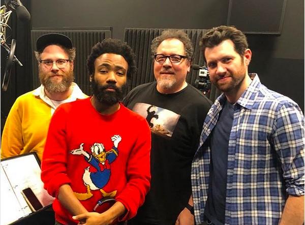 Seth Rogen, Donald Glover, Jon Favreau e Billy Eichner nas gravações de O Rei Leão (Foto: Instagram)