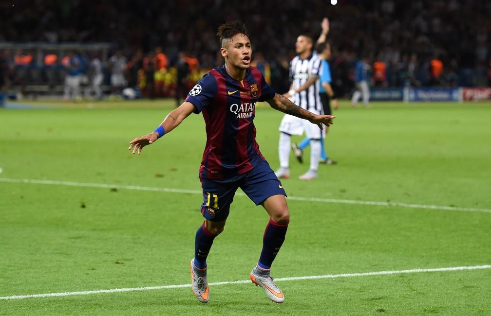 Neymar fechou a conta no jogo do título do Barcelona sobre a Juventus e ainda se igualou a Messi e Cristiano Ronaldo na artilharia em 2015 — Foto: Getty Images
