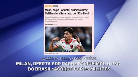 """Jornais europeus destacam """"chapéu"""" do Milan no PSG em transferência de Lucas Paquetá"""