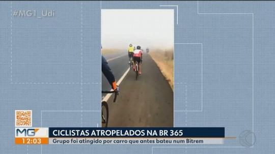 Carro atinge carreta e ciclistas na BR-365 entre Patrocínio e Romaria; três pessoas morrem