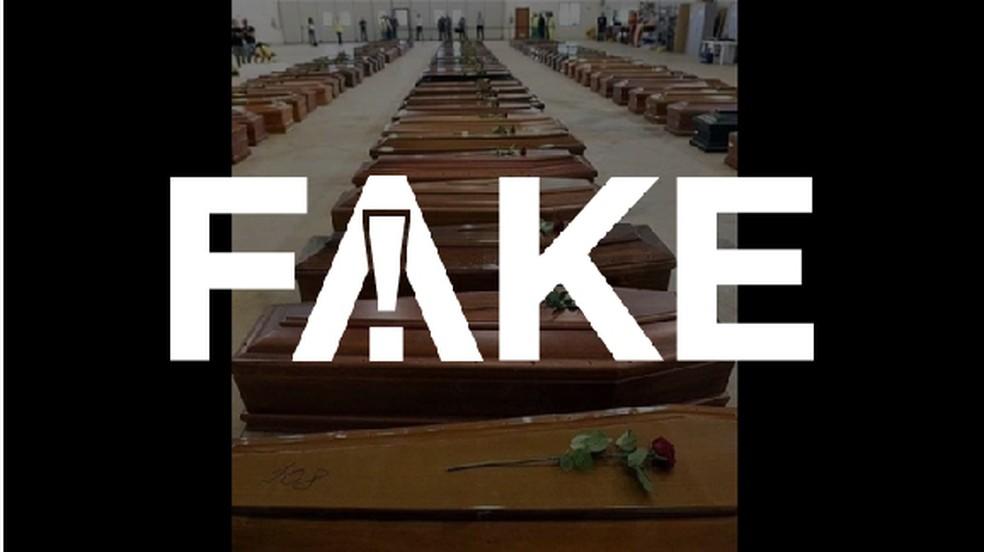 É #FAKE que foto de dezenas de caixões seja de vítimas do coronavírus na Itália — Foto:  G1