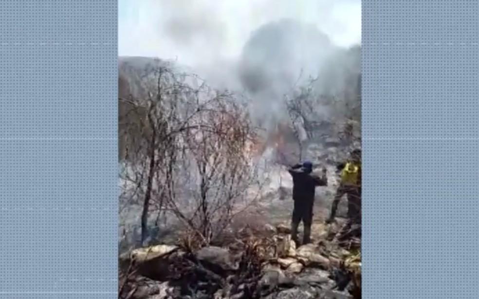 Incêndio é controlado em Itaguaçu e bombeiros e brigadistas trabalham para finalizar todos os focos — Foto: Reprodução/TV São Francisco