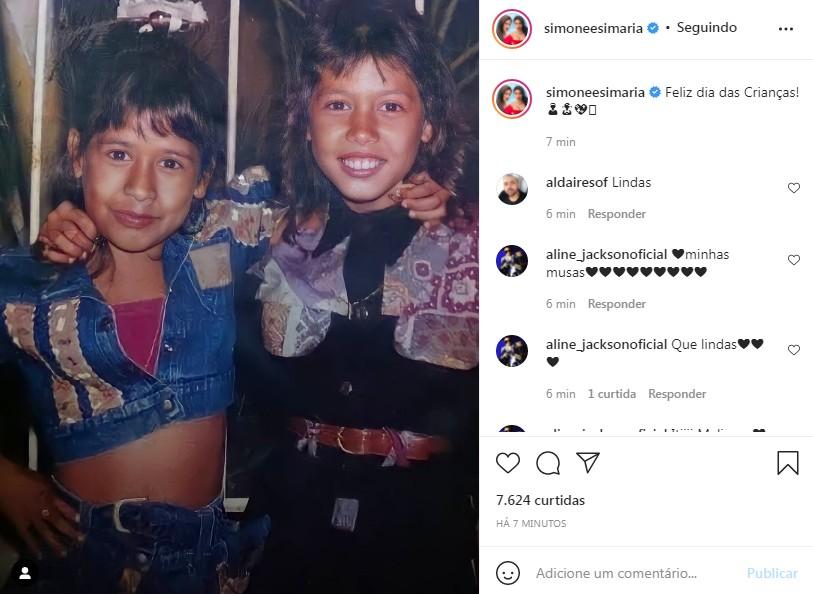 Simone e Simaria postaram foto da infância para celebrar o Dia das Crianças (Foto: Reprodução / Instagram)
