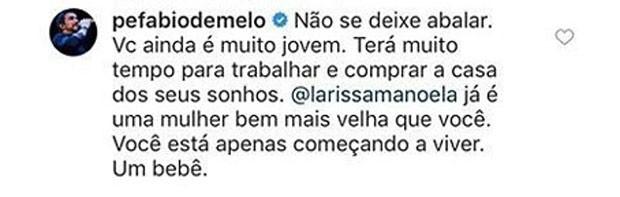 Padre Fabio de Melo comenta post de Tatá (Foto: Reprodução)