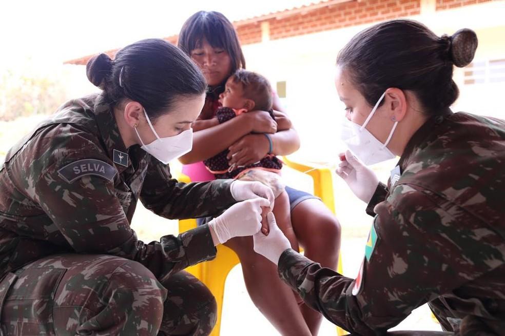 Operação Xavante atende mais de 1,5 mil indígenas em MT e distribui 11 mil medicamentos — Foto: Ministério da Defesa