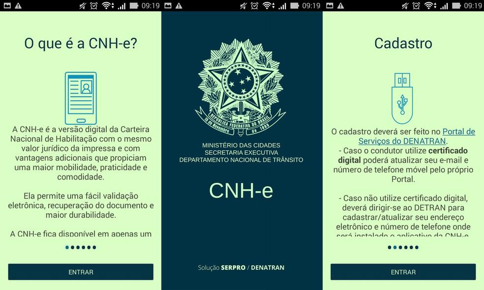 Imagens do aplicativo da CNH-e (Foto: Reprodução)