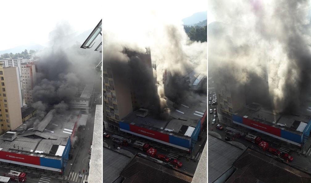 Fumaça se propagou sendo necessária a evacuação de prédios vizinhos ao supermercado Extra, no Centro de Petrópolis (Foto: Camylla Costa/Arquivo Pessoal)