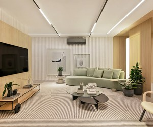 Tons suaves e materiais naturais trazem serenidade para apê de 119 m²