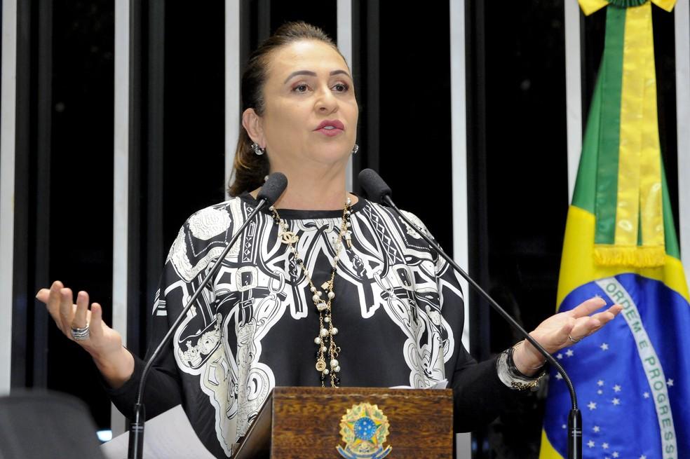 Em discurso na tribuna do Senado, Kátia Abreu atacou a cúpula do PMDB (Foto: Waldemir Barreto, Agência Senado)