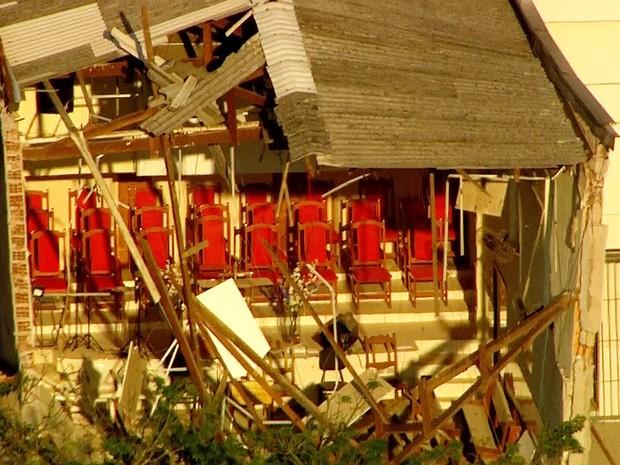 Igreja evangélica desaba em Diadema, ABC (Foto: Reprodução/TV Globo)