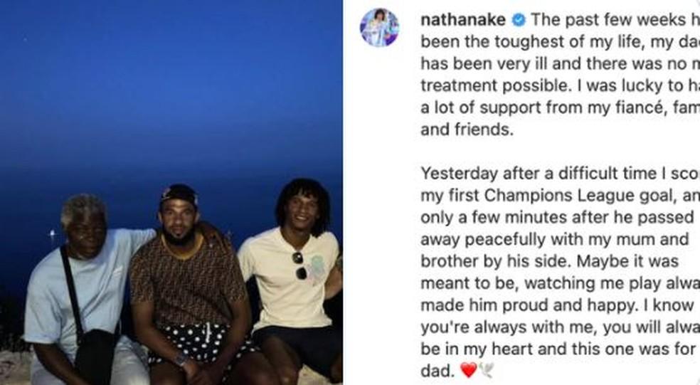 Nathan Aké faz depoimento emocionante após morte do pai — Foto: REPRODUÇÃO/INSTAGRAM