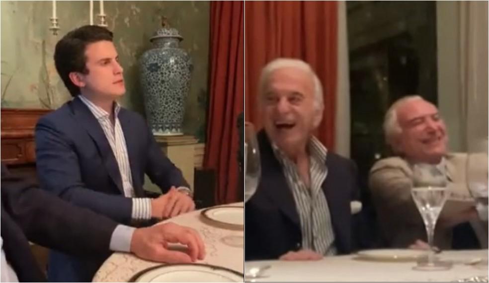 O humorista André Marinho, filho do empresário Paulo Marinho, em jantar com Michel Temer e Naji Nahas, em São Paulo. — Foto: Reprodução