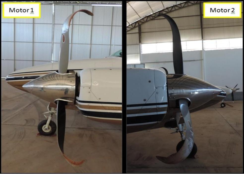 Hélices do avião tinham ficado danificadas após o incidente — Foto: Reprodução/Cenipa
