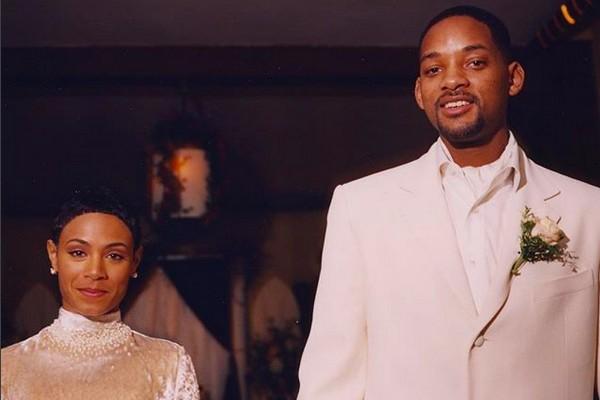 A foto do casamento de Will Smith com Jada Pinkett Smith, ocorrido em 31 de dezembro de 1997 (Foto: Instagram)
