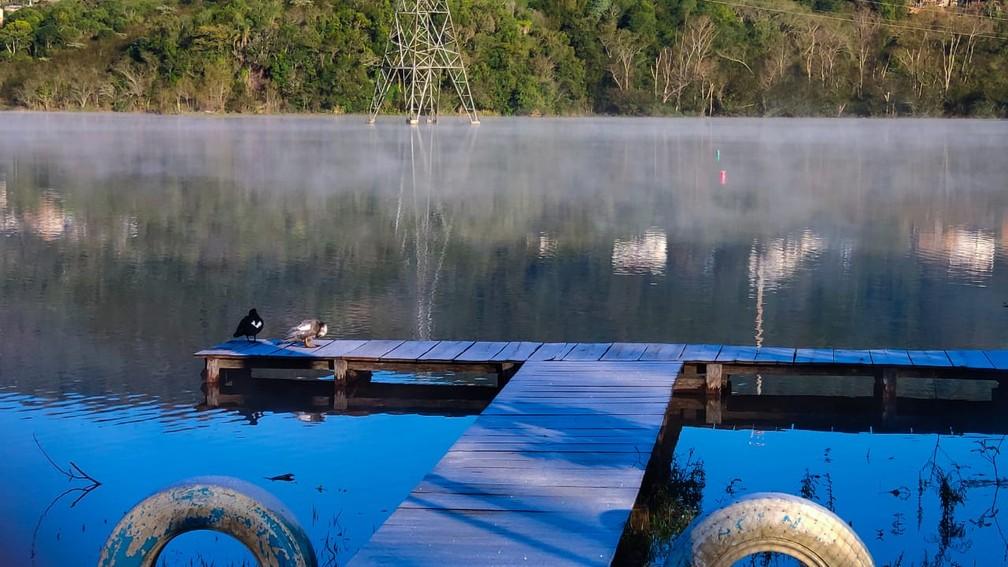 Em Santa Maria, na Região Central, dia amanheceu gelado — Foto: Antônio Maia/arquivo pessoal