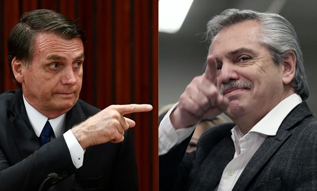 Montagem de imagens do presidente do Brasil, Jair Bolsonaro, e o candidato à Presidência da Argentina Alberto Fernández