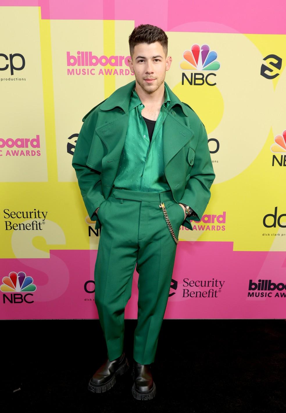 Nick Jonas é o apresentador do Billboard Music Awards 2021, que acontece na Califórnia — Foto: Rich Fury/Getty Images for dcp
