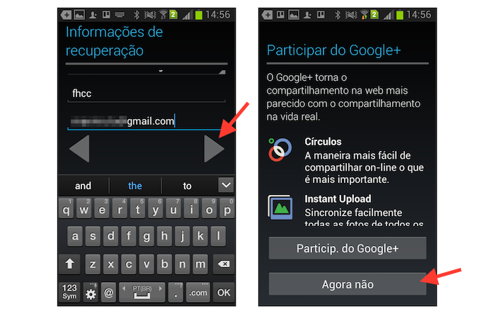Definindo as configurações de recuperação de senha e do Google+ em uma nova conta do YouTube criada através de um dispositivo Android (Foto: Reprodução/Marvin Costa)