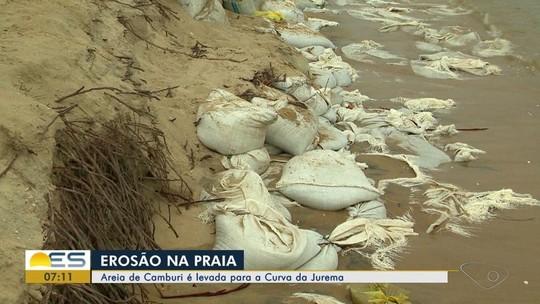 Areia de Camburi é levada para a Curva da Jurema, em Vitória, para tentar conter erosão