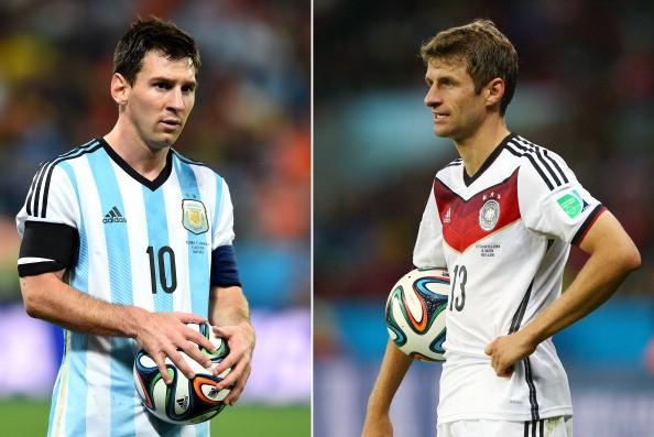 Messi e Müller; as duas seleções são da Adidas (Foto: Getty Images)