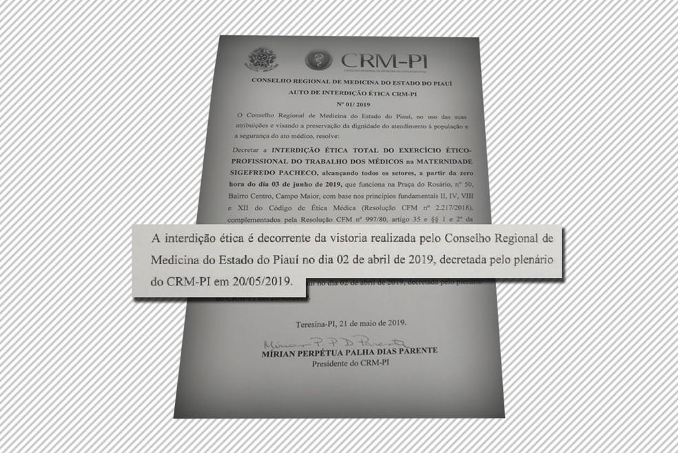 Interdição da Maternidade Sigefredo Pacheco, em Campo Maior — Foto: Reprodução/CRM-PI
