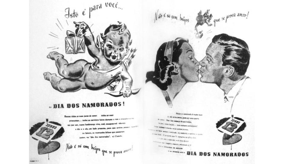 Slogan de propaganda do Dia dos Namorados criada por João Doria (Foto: TEXTO DE JOÃO DORIA, ARTE DE FRITZ LESSIN)
