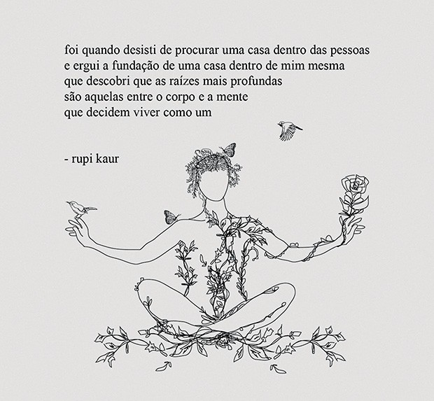 A indiana Rupi Kaur, autora do poema abaixo, de seu mais recente livro, O Que o Sol Faz com as Flores (Foto: Divulgação e Reprodução/ Instagram)