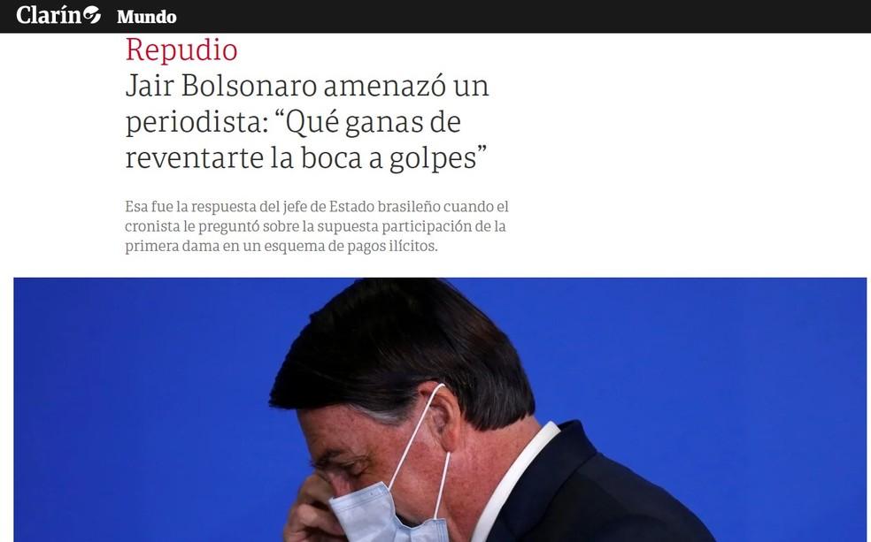 """Texto do jornal argentino """"Clarín"""" sobre a ameaça de violência feita por Bolsonaro — Foto: Reprodução/Clarín"""