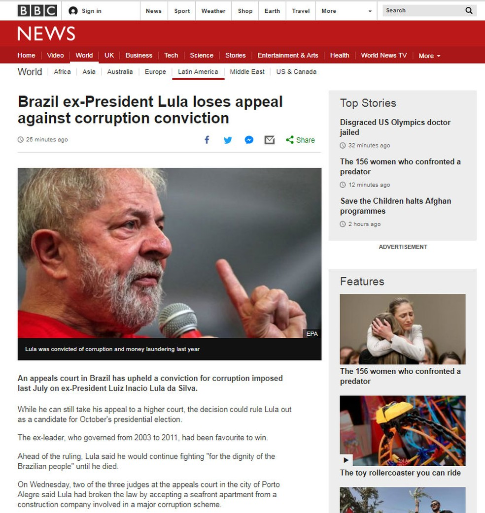 Rede britânica BBC noticia condenação de Lula no TRF-4: 'Ex-presidente brasileiro Lula perde apelação contra condeação de corrupção' (Foto: Reprodução/ BBC.uk)