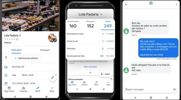 Algumas das telas do novo Google Meu Negócio: interatividade e métricas (Foto: Divulgação)