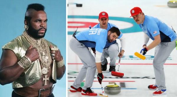 O ator Mr. T e a equipe de curling dos EUA (Foto: Getty Images)