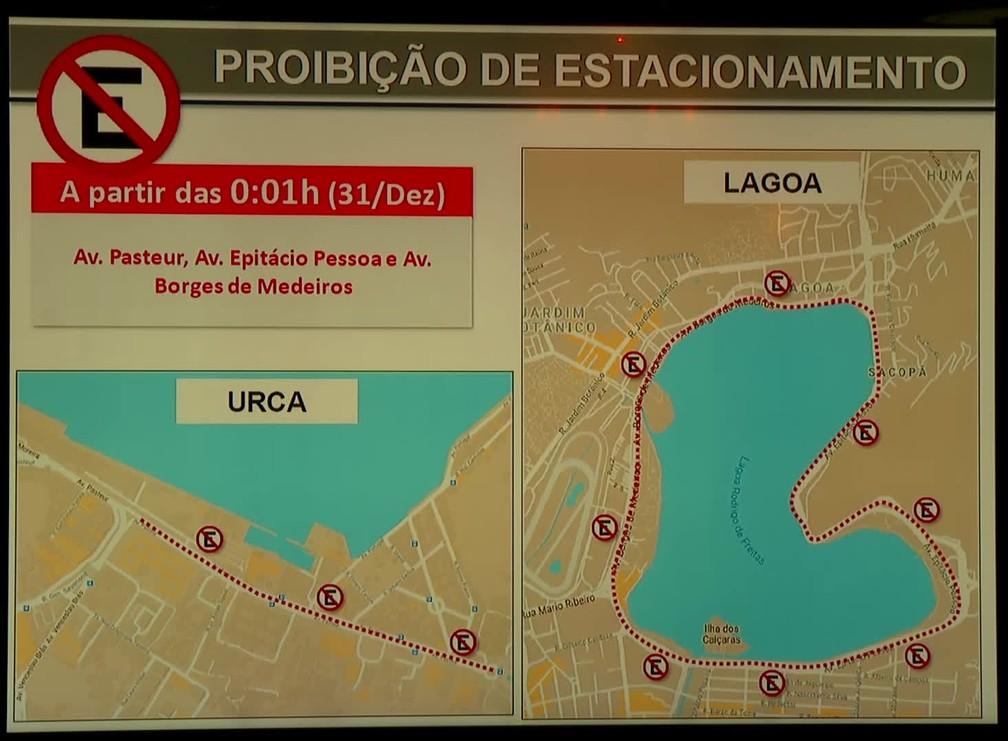Réveillon do Rio: proibição de estacionamento na Urca e na Lagoa — Foto: Reprodução